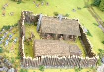 Timber Stockade Fort with barracks