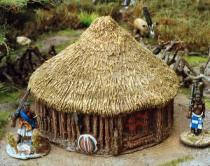 Timber/wattle hut with thatch roof
