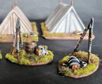 40mm camp fire and standing muskets