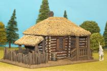 Large Log House With Thatch Roof / Canopy