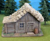 Plank Cabin with thatch roof