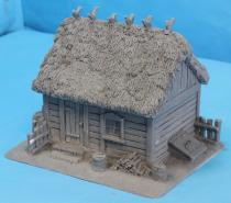 Plank House with Thatch Roof