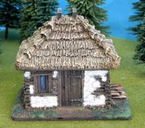 Slotted Timber/Daub Cabin with 4 sided pitched thatched roof