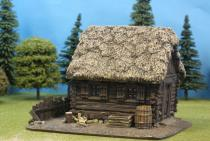 Slotted Timber Cabin With Thatch Roof/Rear Fence