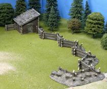 Snake Fence defences with powder store