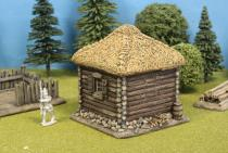 Square Log Cabin +Thatch Roof