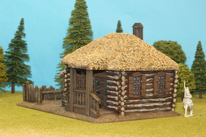 Large Log House With Thatch Roof Canopy